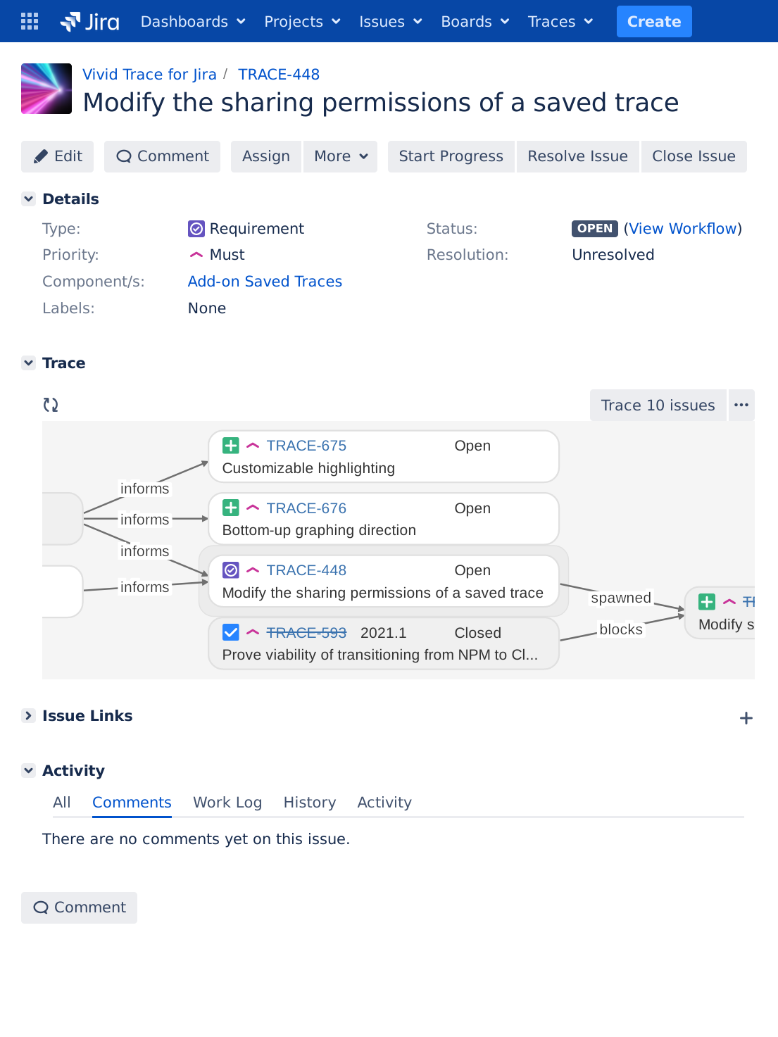 Vivid Trace for Jira - Jira issue dependency graphs - Trace and