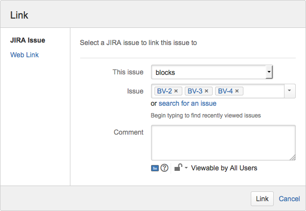Figure: Linking to several issues from within the Link dialog