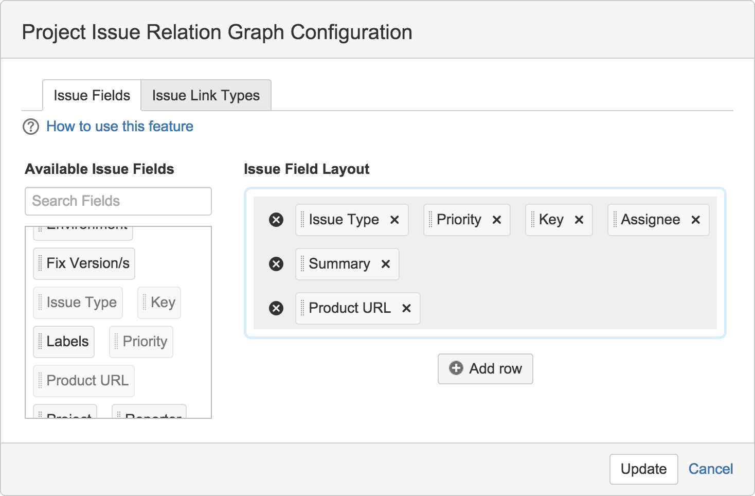 Figure: Project Issue Relation Graph Configuration dialog open to Issue Fields tab
