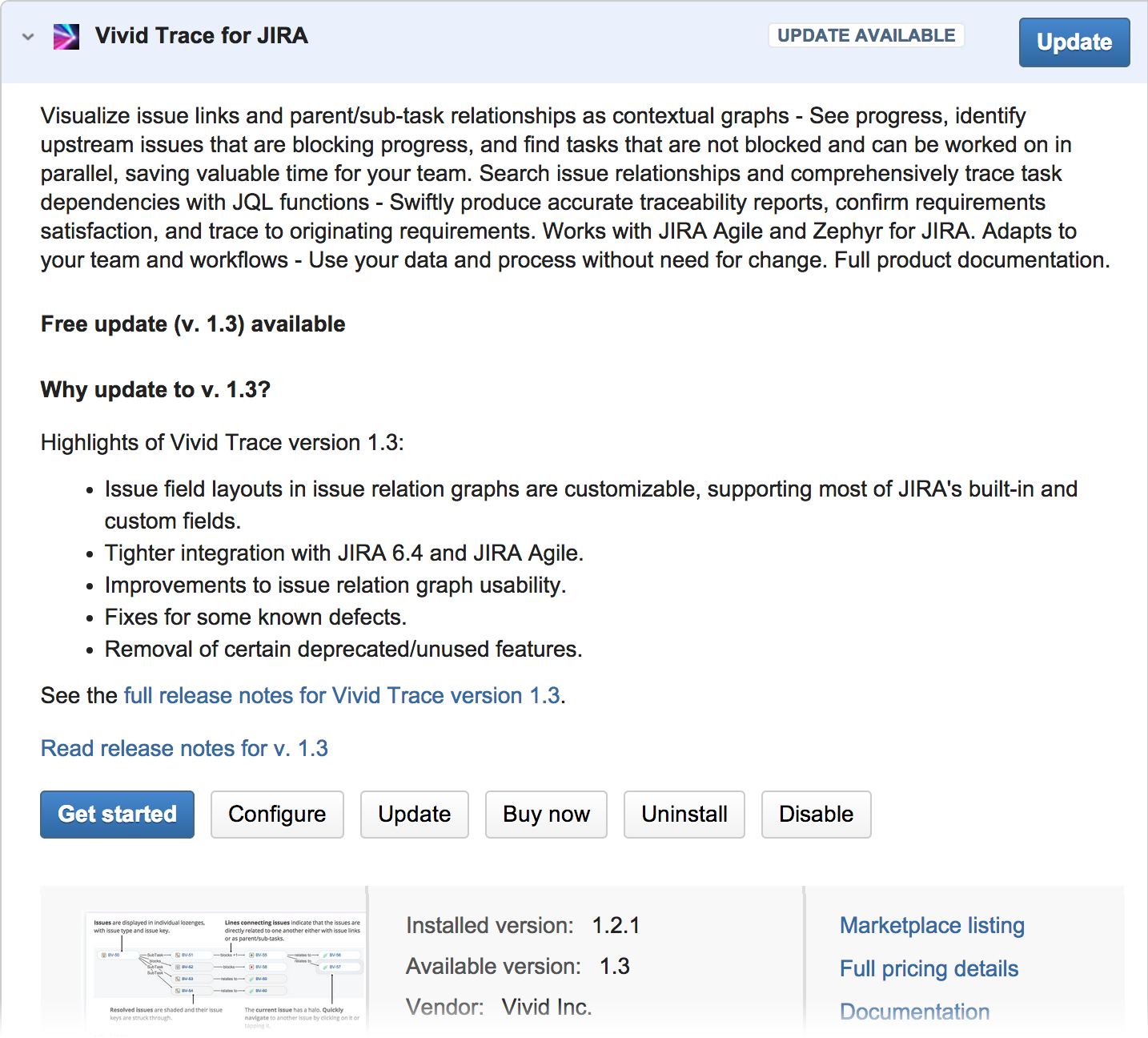 Figure: Managing the Vivid Trace add-on in JIRA