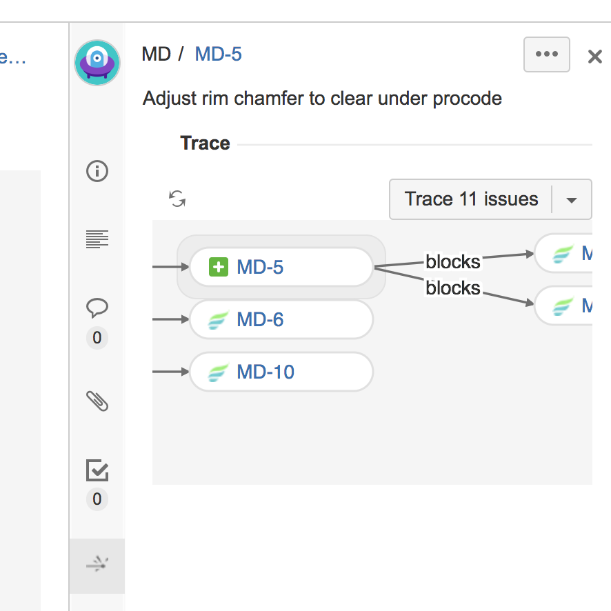 Figure: Contextual trace in the JIRA Software quickview.