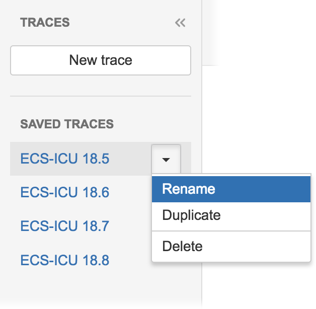 Figure: The Saved Traces component in the Trace Studio, providing instant recall of saved trace configurations applied to current JIRA data.