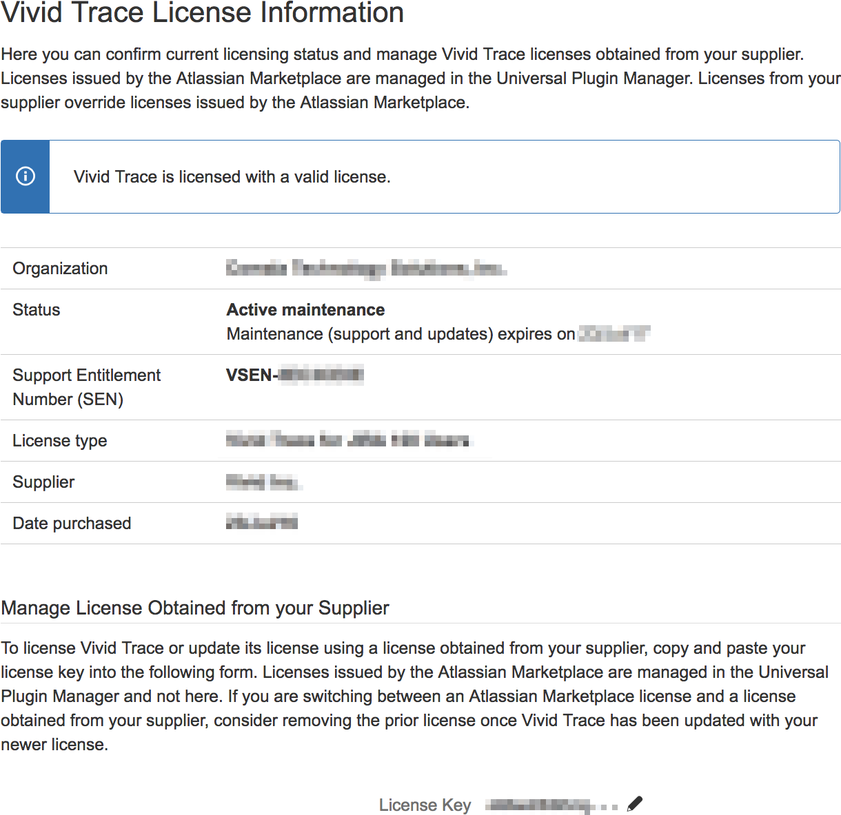 Figure: Vivid Trace License Information page in JIRA administration.